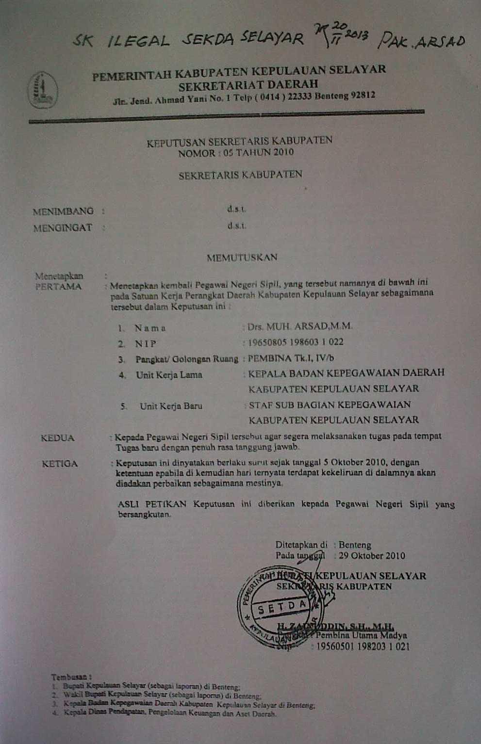 Keputusan Sekretaris Daerah Kabupaten Menjadi Dasar