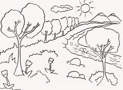 Gambar Mewarnai Pemandangan Untuk Anak Tk Oleh Julia Bela