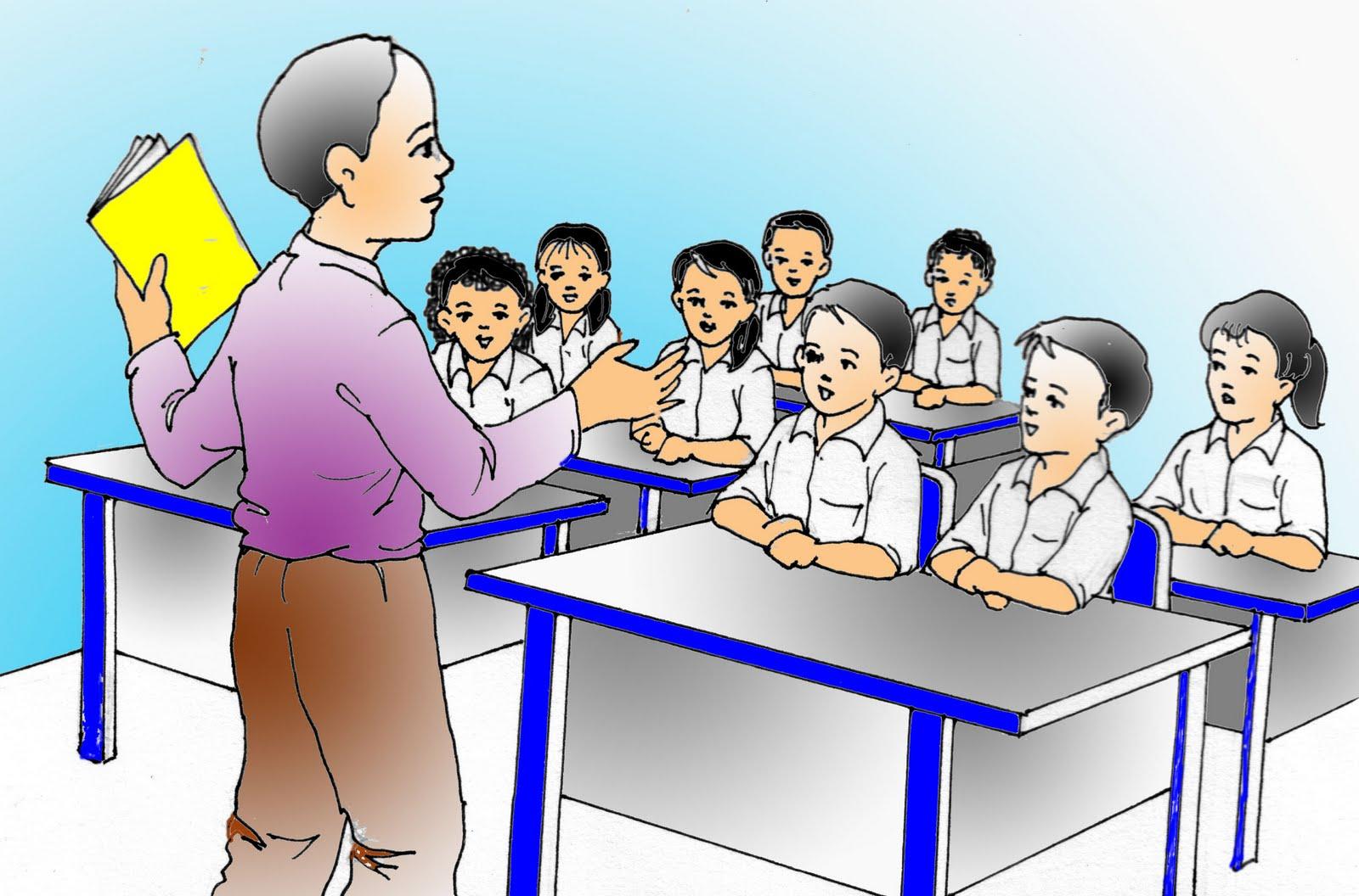 Contoh Gambar Ilustrasi Guru Sedang Mengajar