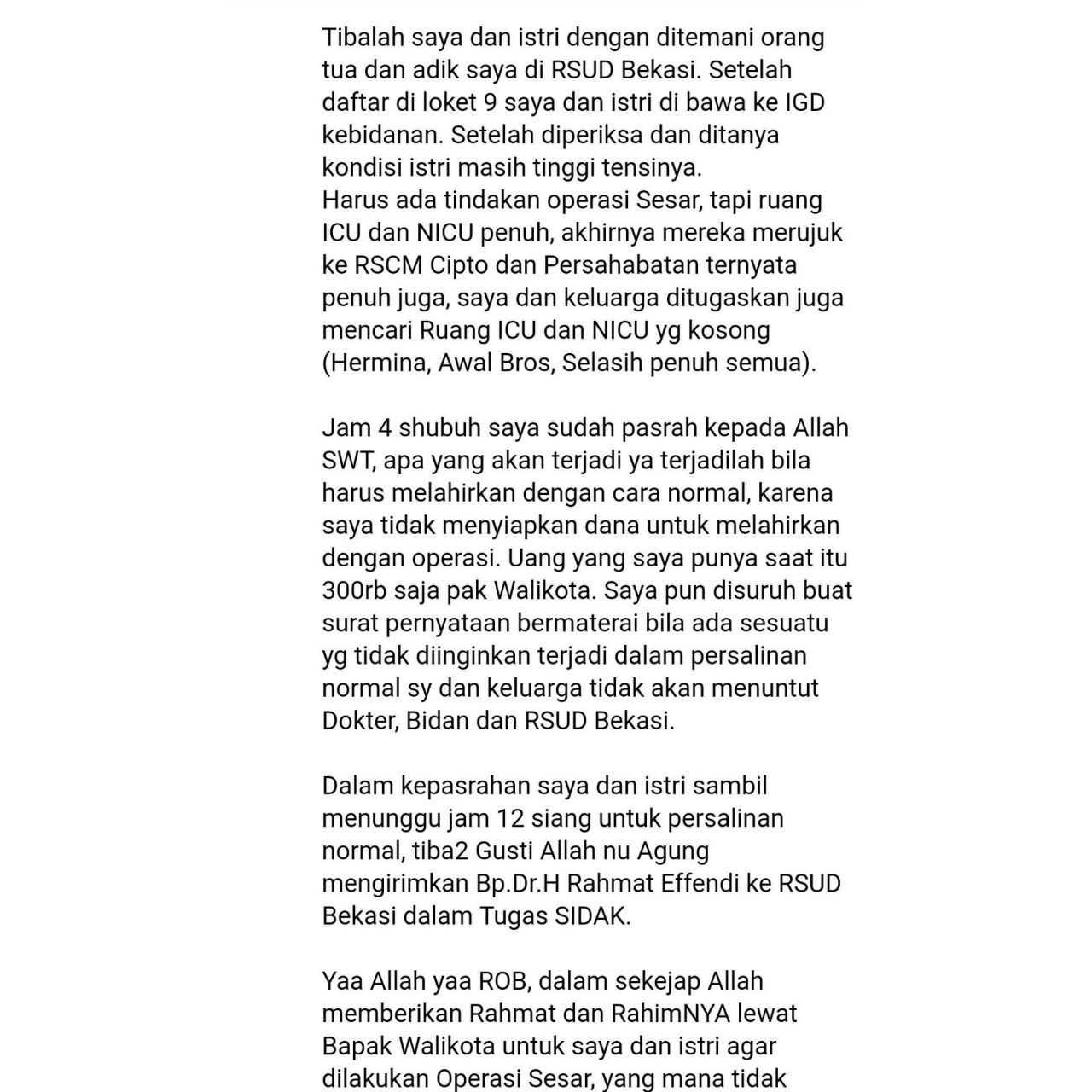 Surat Untuk Wali Kota Bekasi Dr Rahmat Effendi Kompasianacom