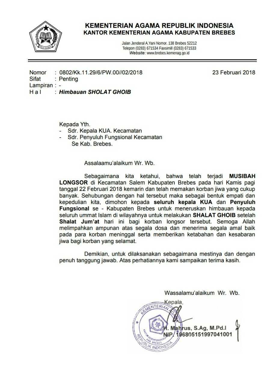 Contoh Surat Resmi Kementerian Agama