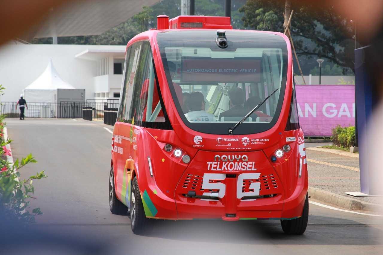 Bus listrik Navya yang dikenalkan di Asian Games 2018 | Sumber: Kompasiana