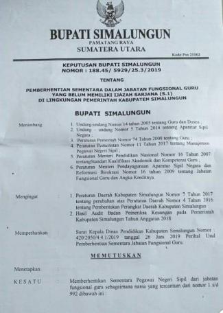 Cabut 3 Sk Pemberhentian Guru Di Kabupaten Simalungun Kompasiana Com