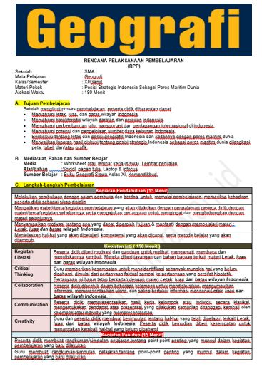 Rpp 1 Lembar Geografi Kelas 10 11 12 Terbaru 2020 Halaman All Kompasiana Com