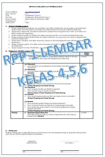 Rpp 1 Lembar Kelas 4 5 Dan 6 Semua Tema Revisi 2020 Kompasiana Com
