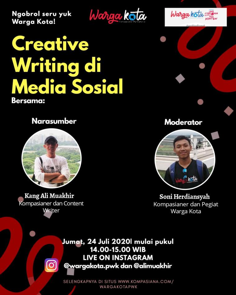 Warga Kota Live IG: Ngobrol Seru Seputar Creative Writing di Media Sosial