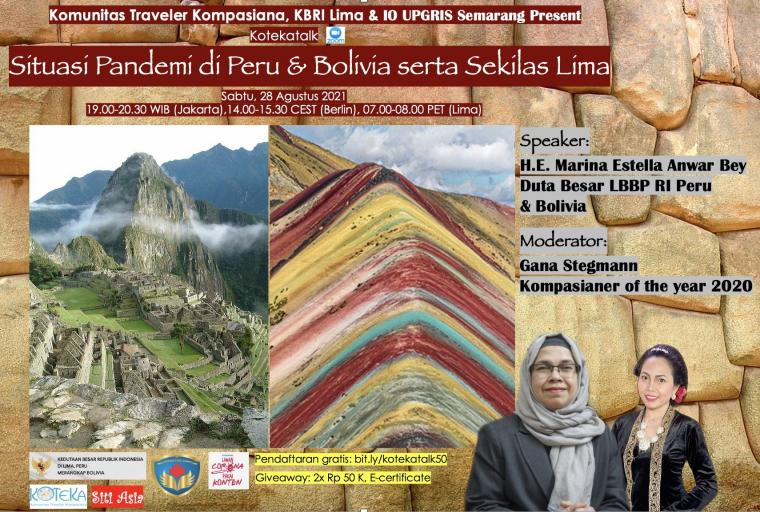 Jalan-jalan Virtual ke Peru dan Bolivia lewat Kotekatalk, Yuk!