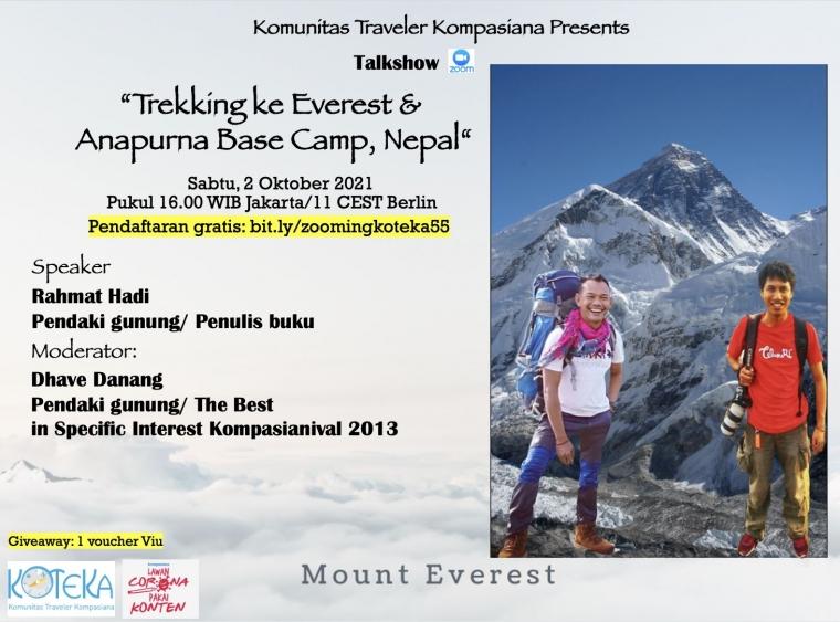 Simak Rasanya Trekking Gunung Everest dalam Kotekatalk-55 Sabtu Ini