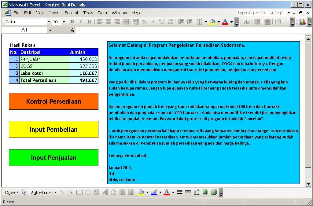 Aplikasi Excel Kontrol Pencatatan Usaha Jual Beli Kompasiana Com