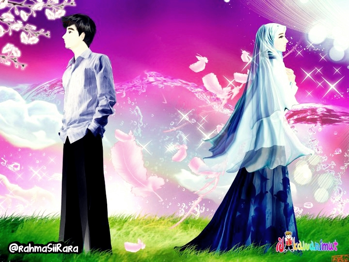 660 Koleksi Gambar Kartun Pasangan Romantis Islami Gratis