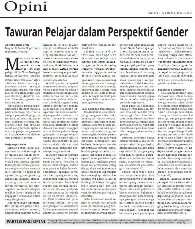 Tawuran Pelajar Dalam Perspektif Gender Kompasiana Com