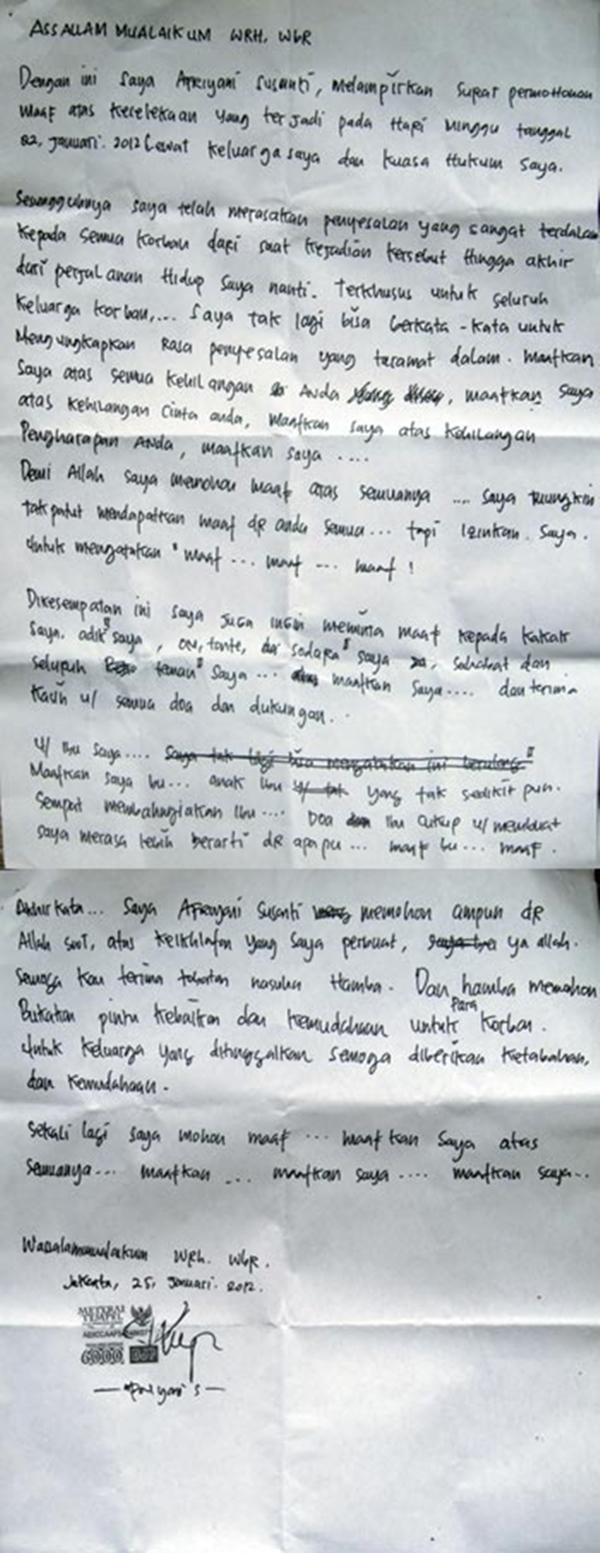 Surat Permohonan Maaf Pengemudi Xenia Maut Kompasianacom